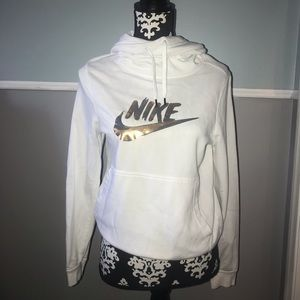 White and Metallic Women's Funnel-Neck Hoodie